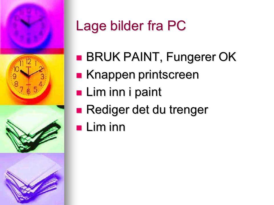 Lage bilder fra PC BRUK PAINT, Fungerer OK Knappen printscreen