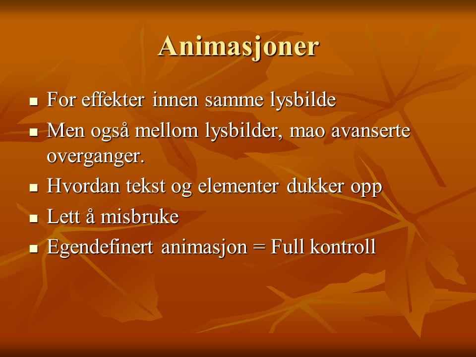 Animasjoner For effekter innen samme lysbilde