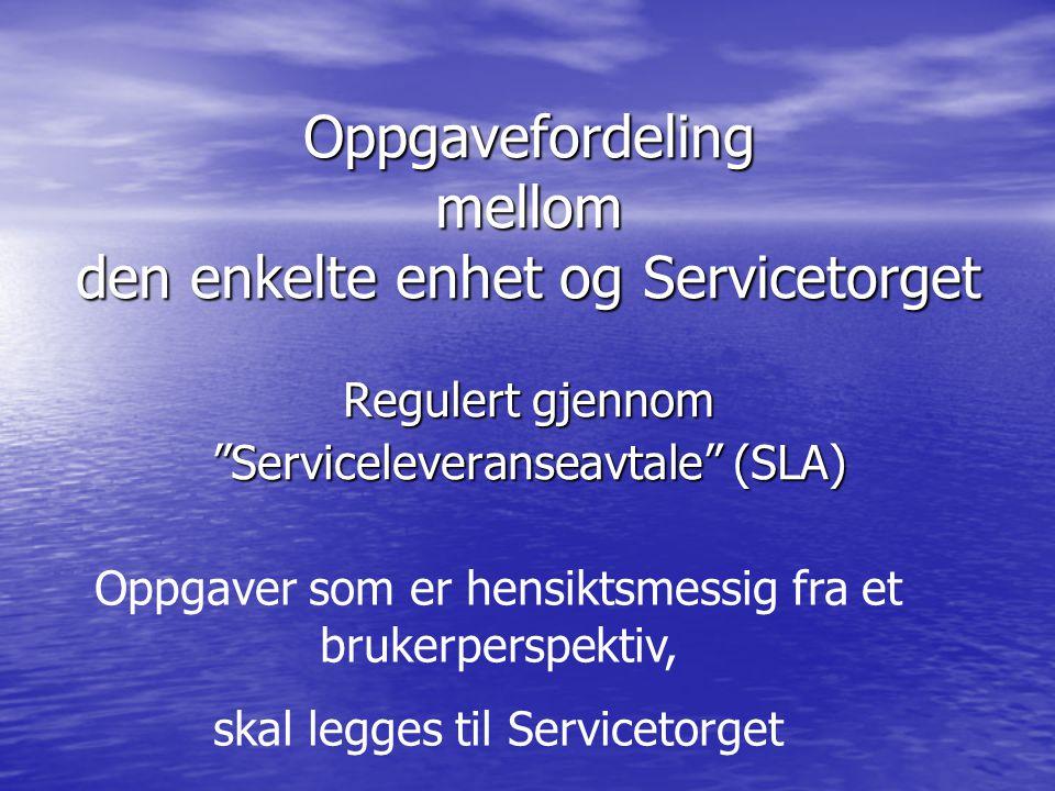 Oppgavefordeling mellom den enkelte enhet og Servicetorget