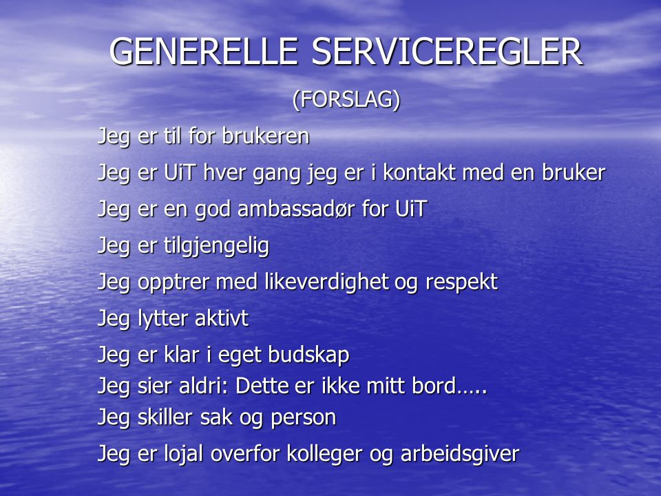 GENERELLE SERVICEREGLER