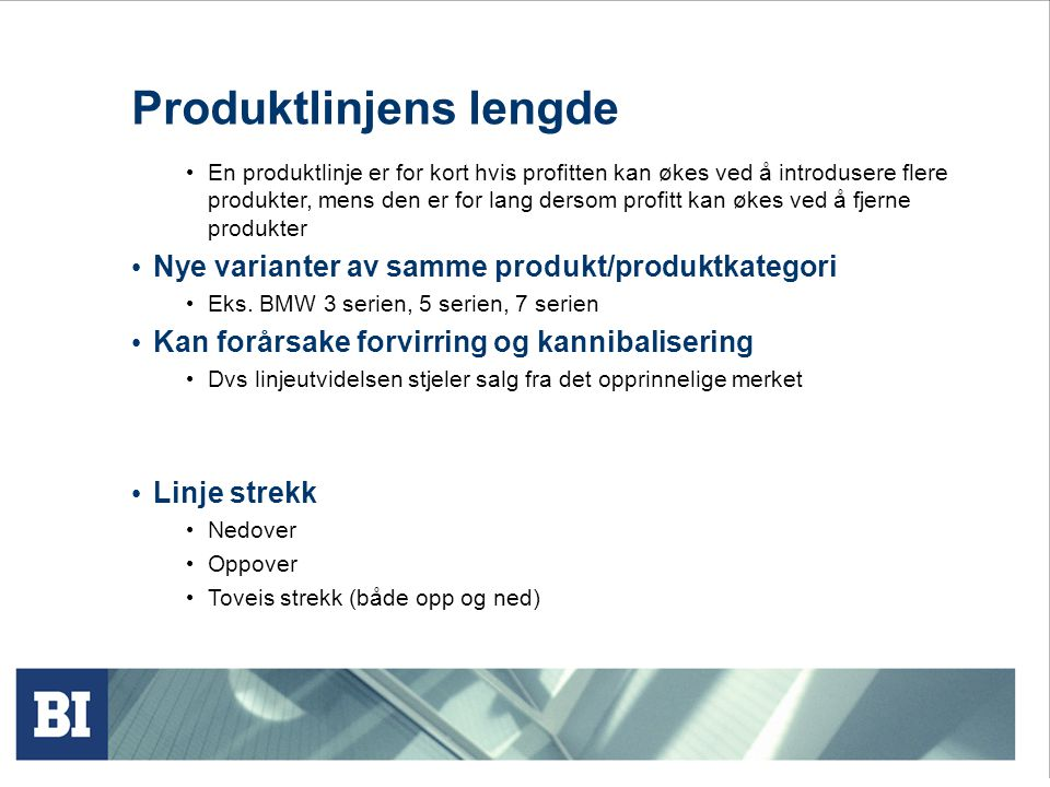 Produktlinjens lengde