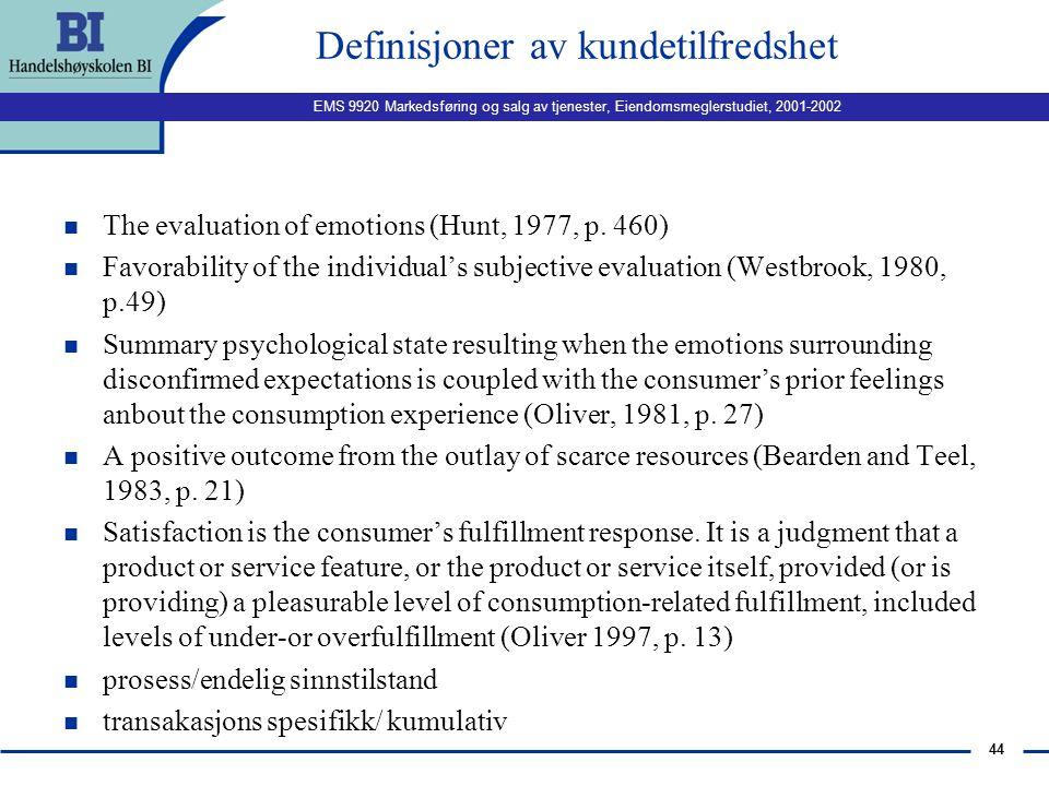 Definisjoner av kundetilfredshet