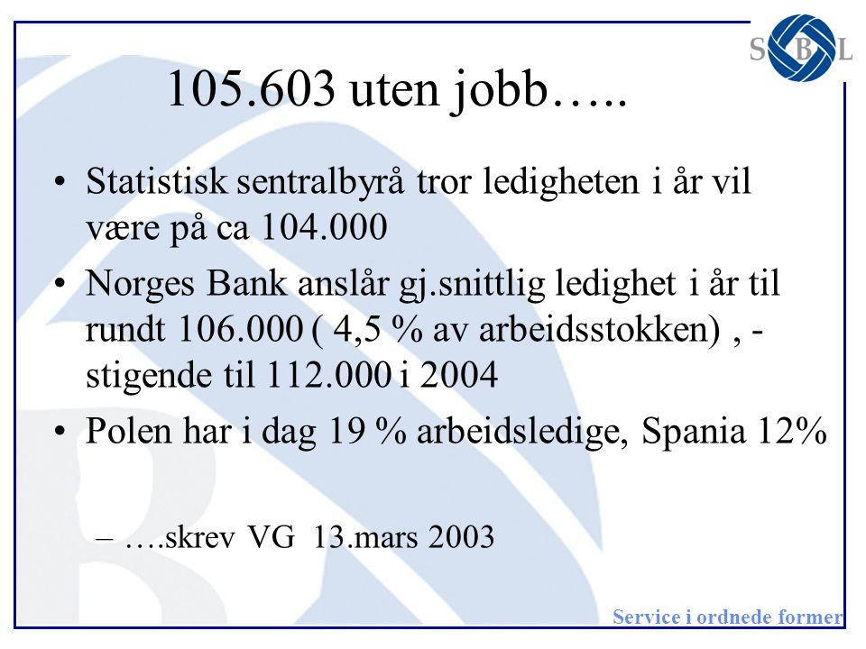 105.603 uten jobb….. Statistisk sentralbyrå tror ledigheten i år vil være på ca 104.000.