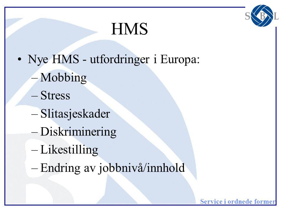 HMS Nye HMS - utfordringer i Europa: Mobbing Stress Slitasjeskader