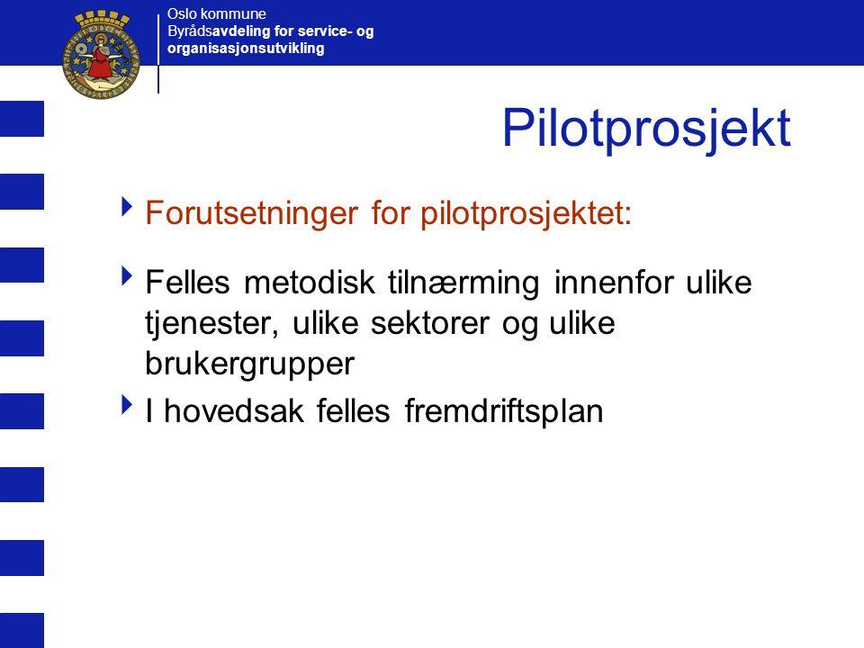 Pilotprosjekt Forutsetninger for pilotprosjektet: