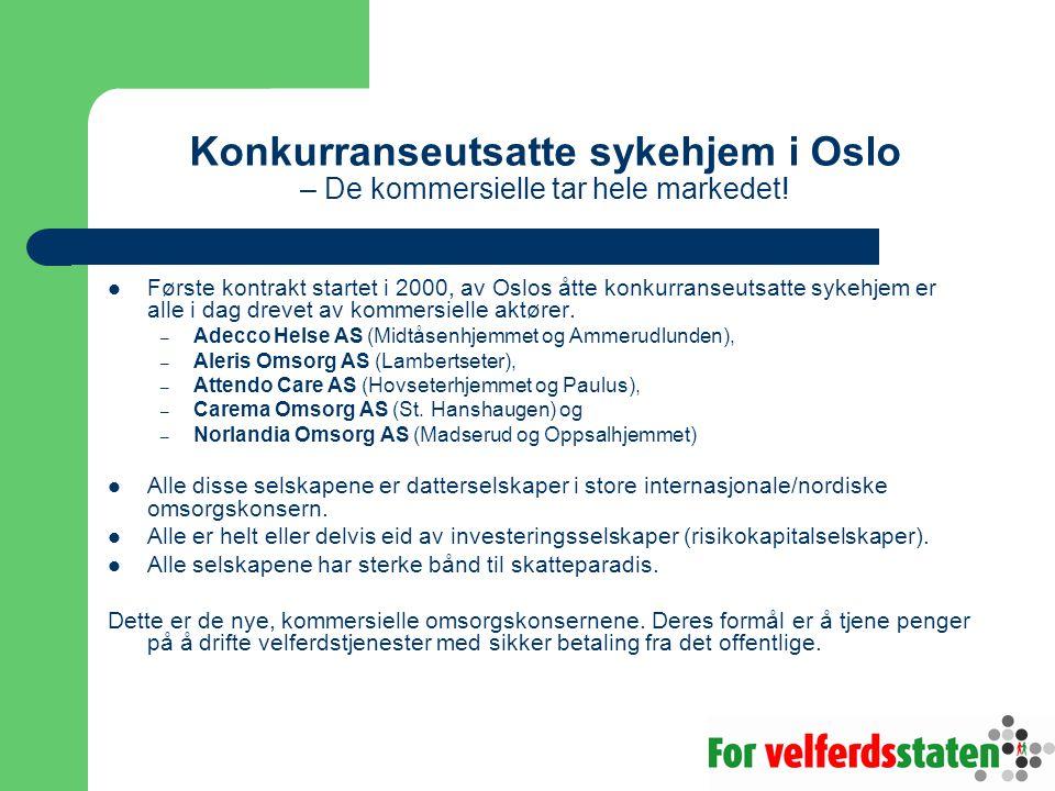 Konkurranseutsatte sykehjem i Oslo – De kommersielle tar hele markedet!