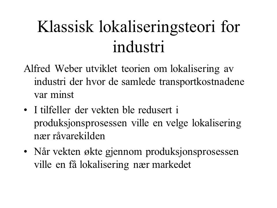 Klassisk lokaliseringsteori for industri
