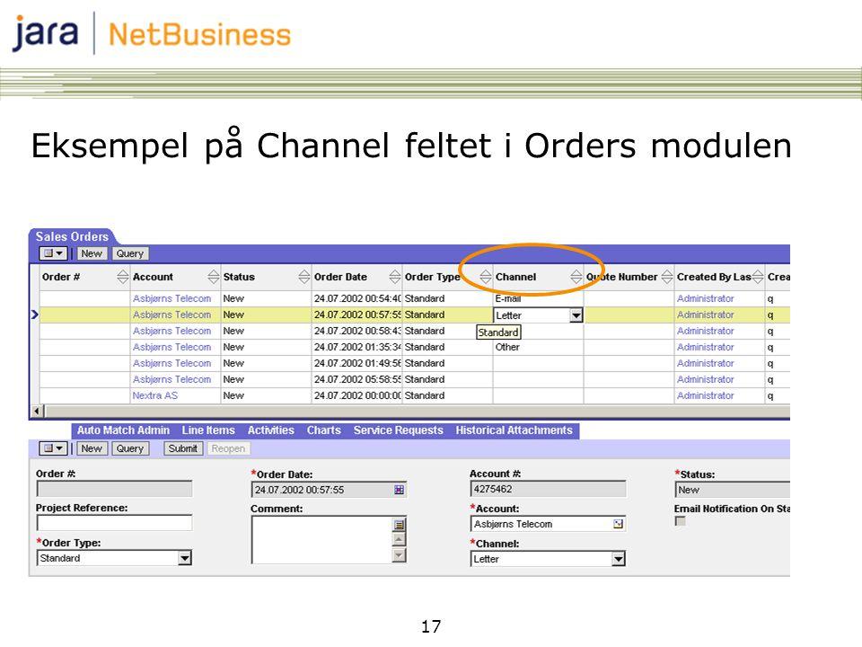 Eksempel på Channel feltet i Orders modulen