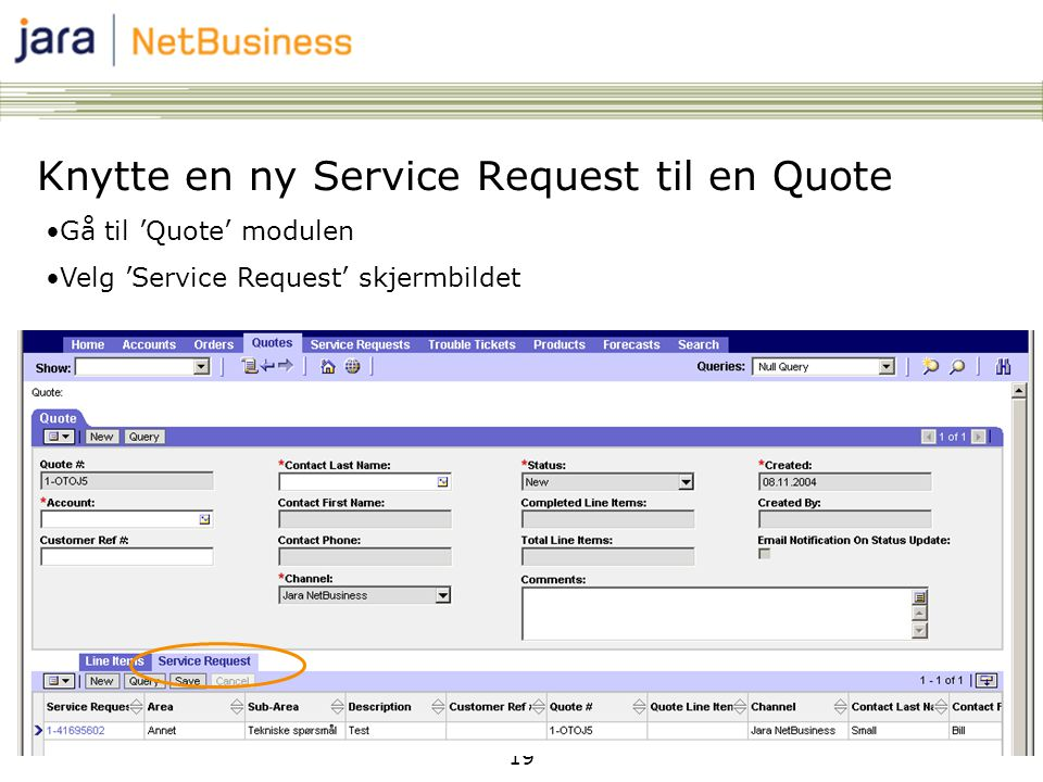 Knytte en ny Service Request til en Quote