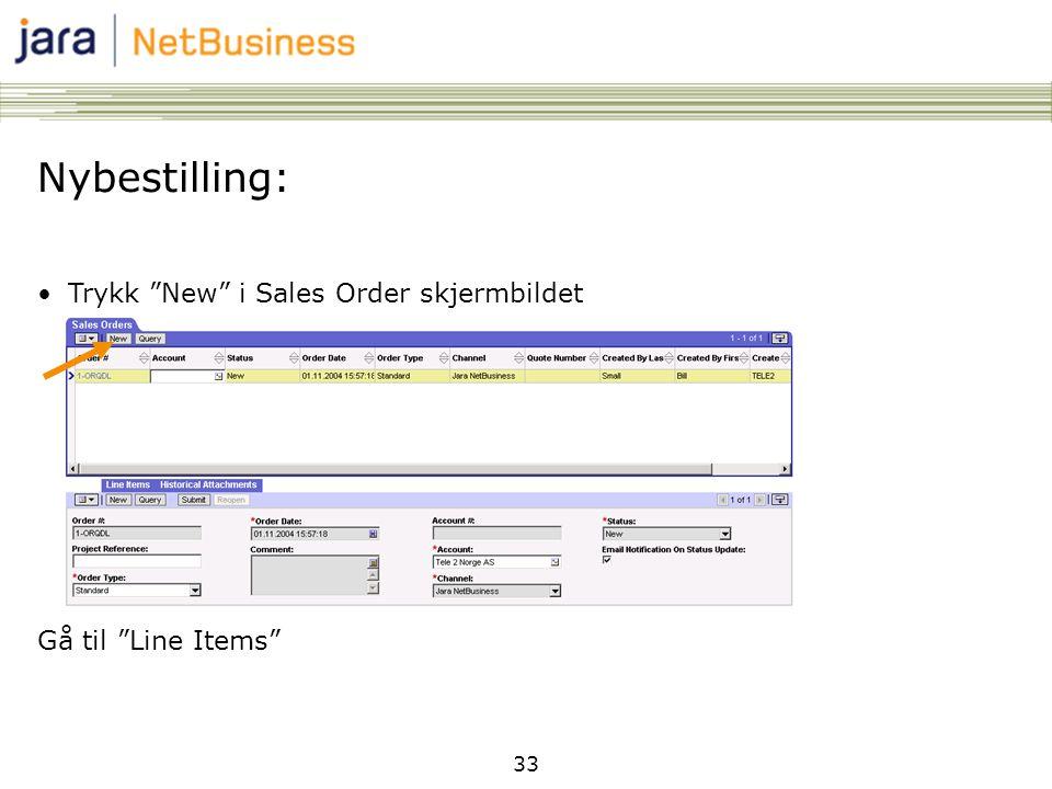 Nybestilling: Trykk New i Sales Order skjermbildet