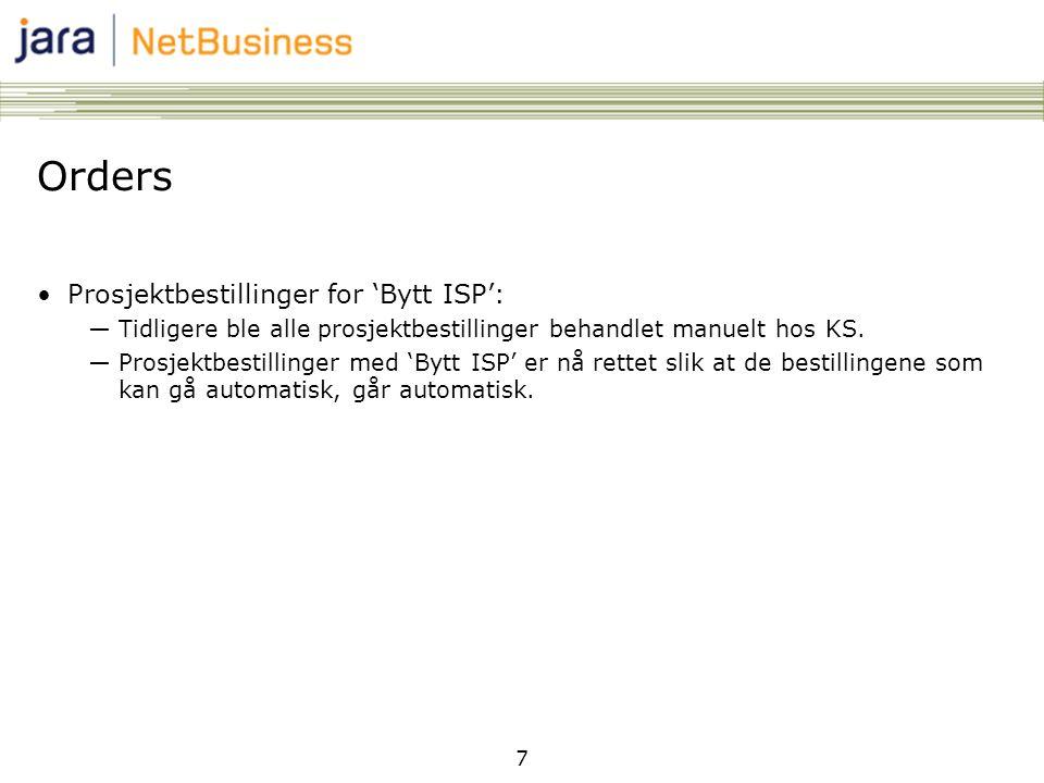 Orders Prosjektbestillinger for 'Bytt ISP':
