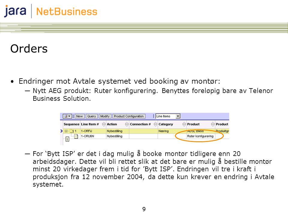 Orders Endringer mot Avtale systemet ved booking av montør: