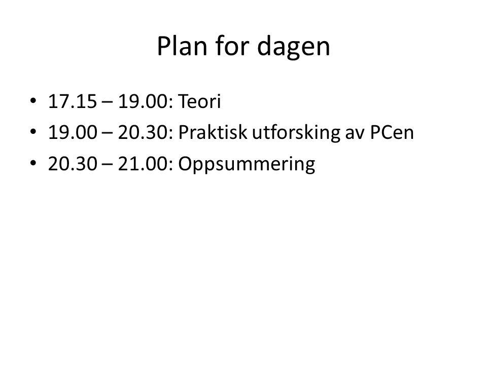 Plan for dagen 17.15 – 19.00: Teori. 19.00 – 20.30: Praktisk utforsking av PCen.