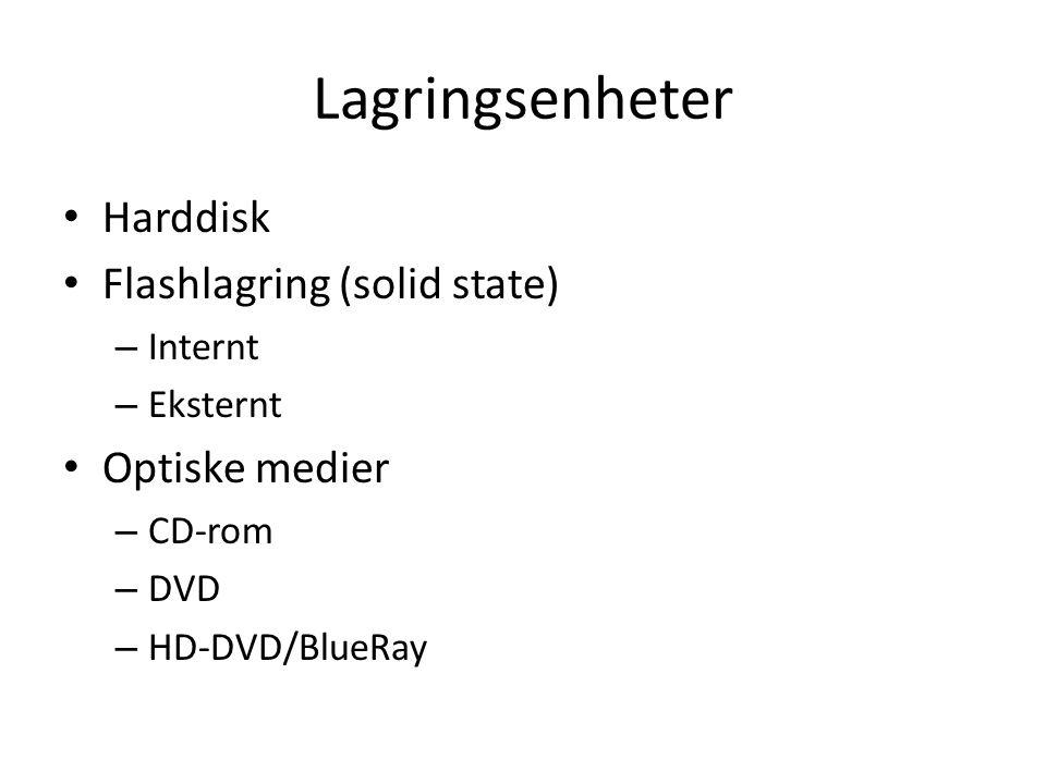 Lagringsenheter Harddisk Flashlagring (solid state) Optiske medier