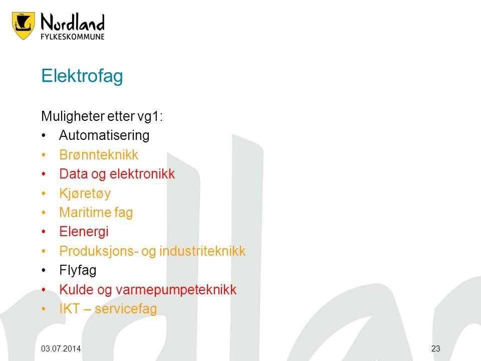 Elektrofag Muligheter etter vg1: Automatisering Brønnteknikk