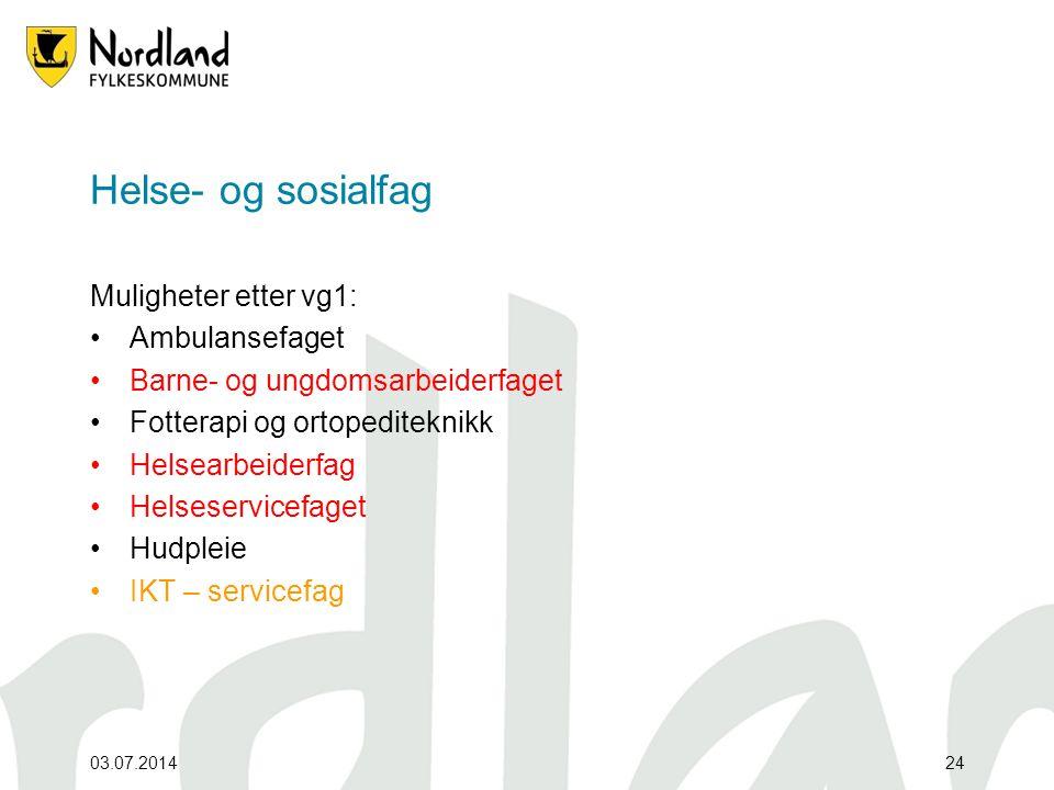 Helse- og sosialfag Muligheter etter vg1: Ambulansefaget