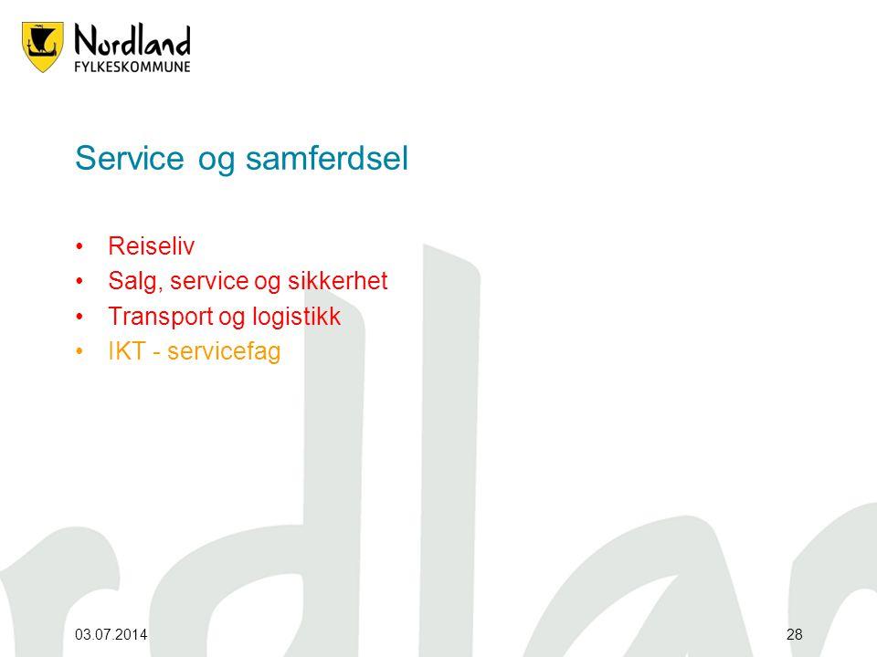 Service og samferdsel Reiseliv Salg, service og sikkerhet