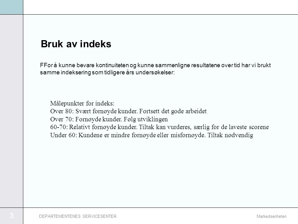 Bruk av indeks Målepunkter for indeks: