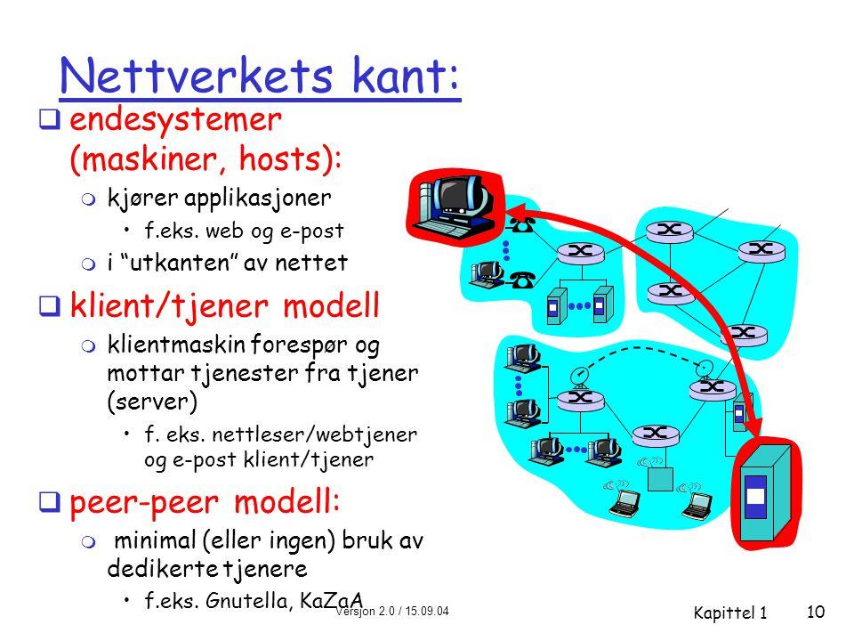 Nettverkets kant: endesystemer (maskiner, hosts): klient/tjener modell