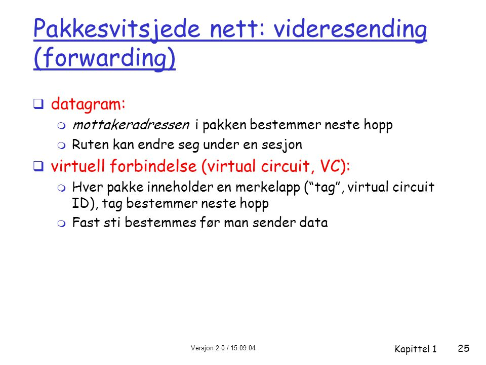Pakkesvitsjede nett: videresending (forwarding)