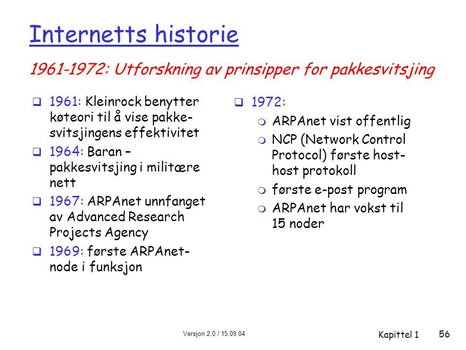 Internetts historie 1961-1972: Utforskning av prinsipper for pakkesvitsjing.