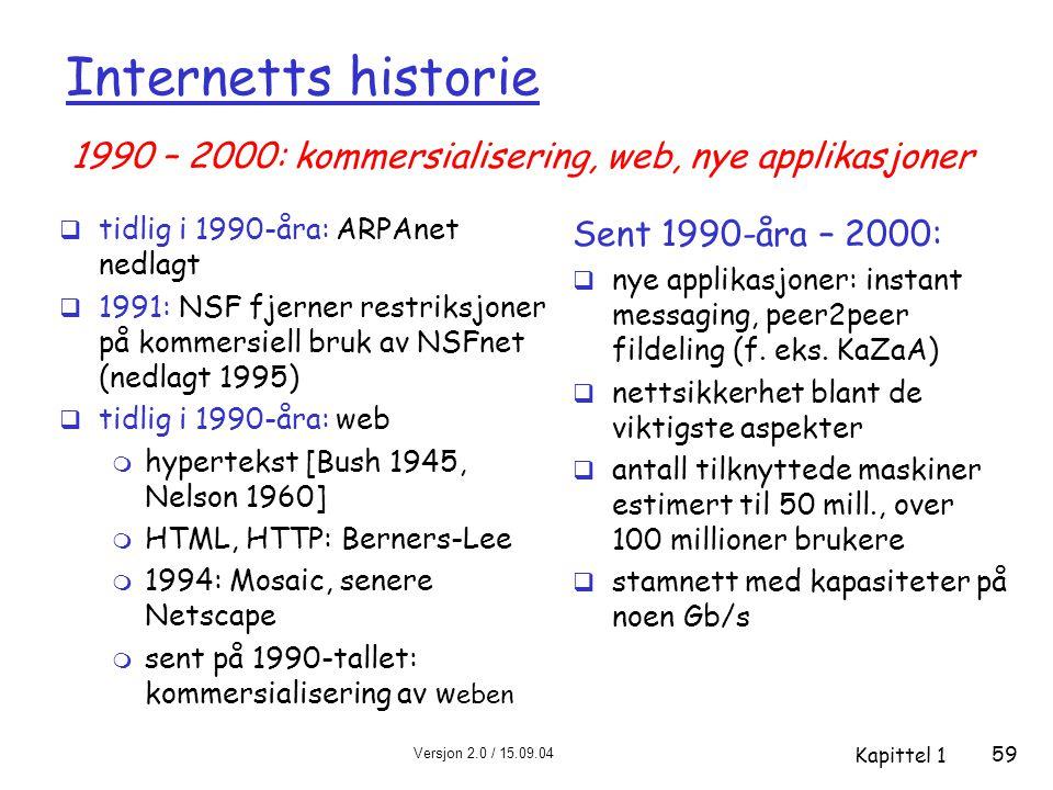 Internetts historie 1990 – 2000: kommersialisering, web, nye applikasjoner. tidlig i 1990-åra: ARPAnet nedlagt.