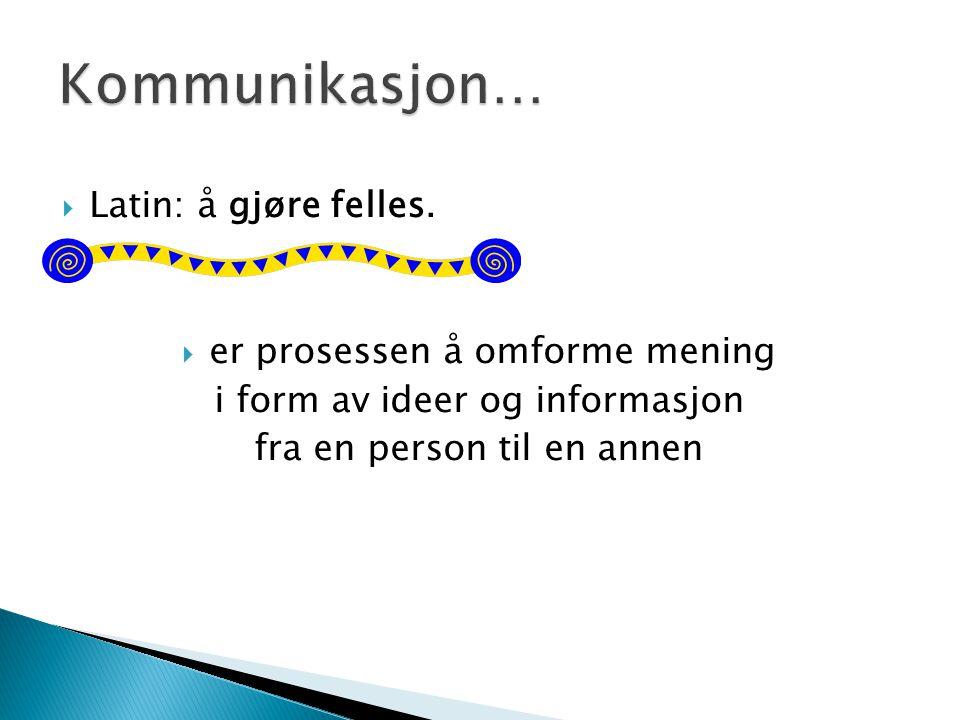 Kommunikasjon… Latin: å gjøre felles. er prosessen å omforme mening