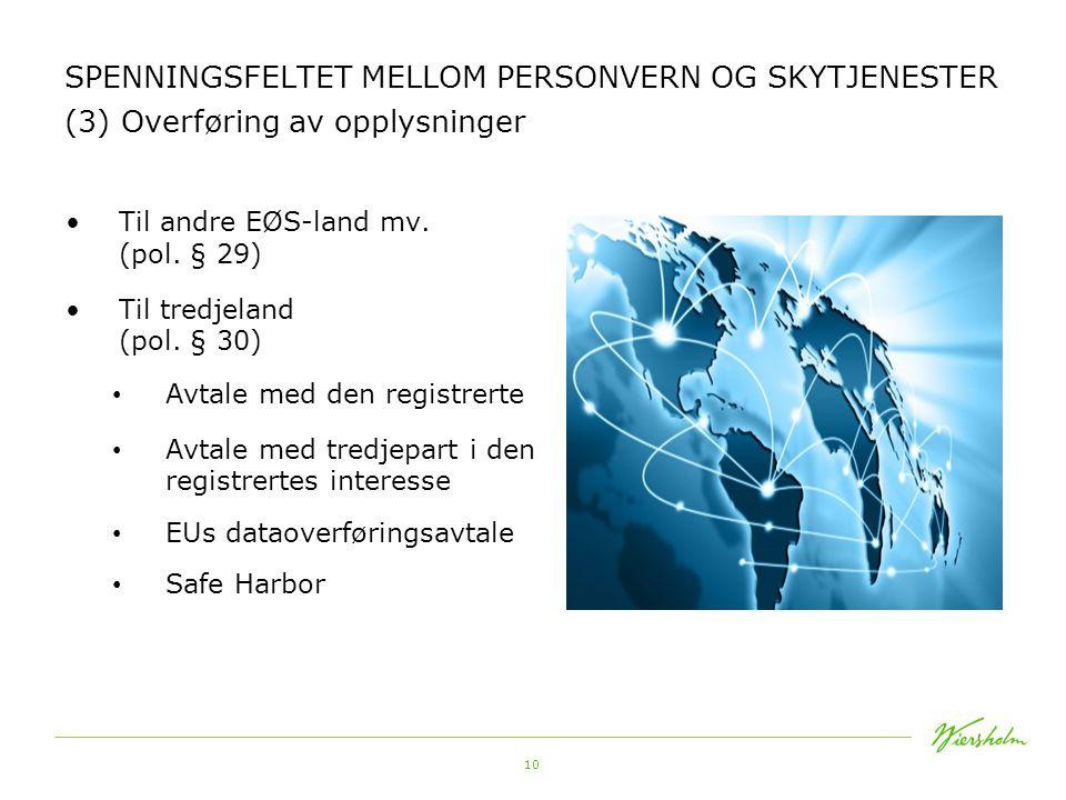 SPENNINGSFELTET MELLOM PERSONVERN OG SKYTJENESTER (3) Overføring av opplysninger