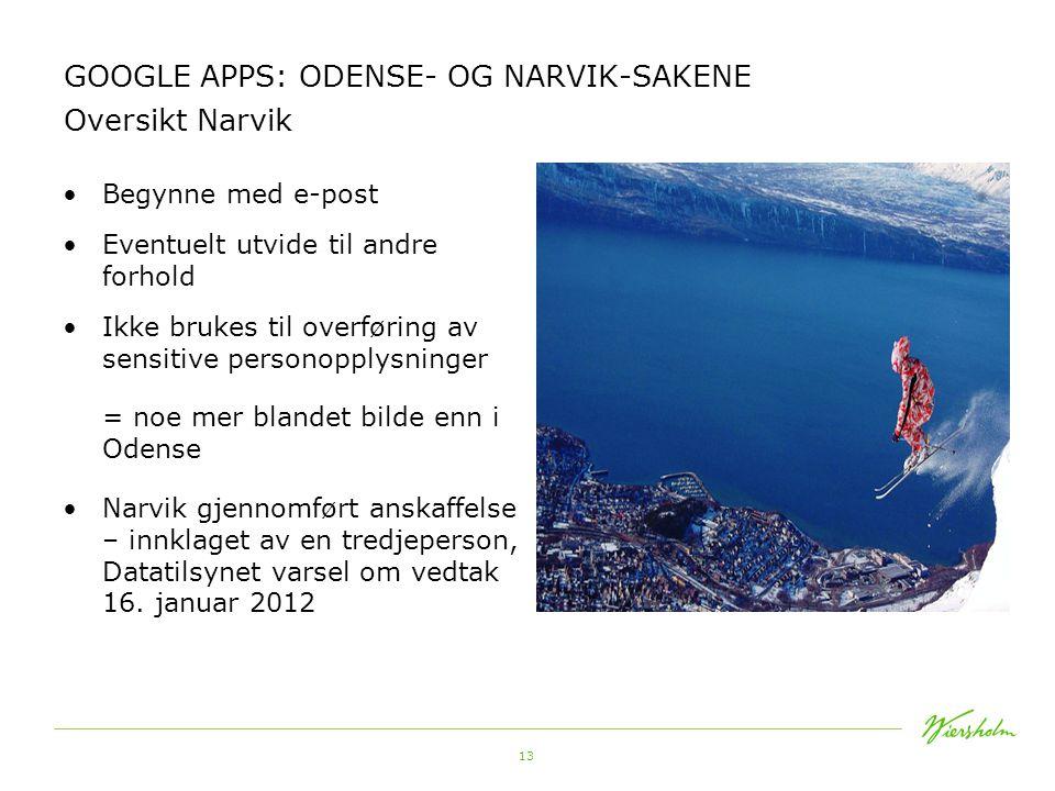GOOGLE APPS: ODENSE- OG NARVIK-SAKENE Oversikt Narvik