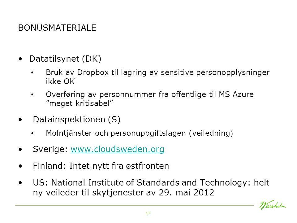 Sverige: www.cloudsweden.org Finland: Intet nytt fra østfronten