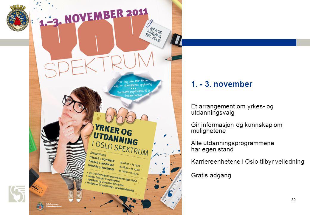 1. - 3. november Et arrangement om yrkes- og utdanningsvalg Gir informasjon og kunnskap om mulighetene Alle utdanningsprogrammene har egen stand Karriereenhetene i Oslo tilbyr veiledning