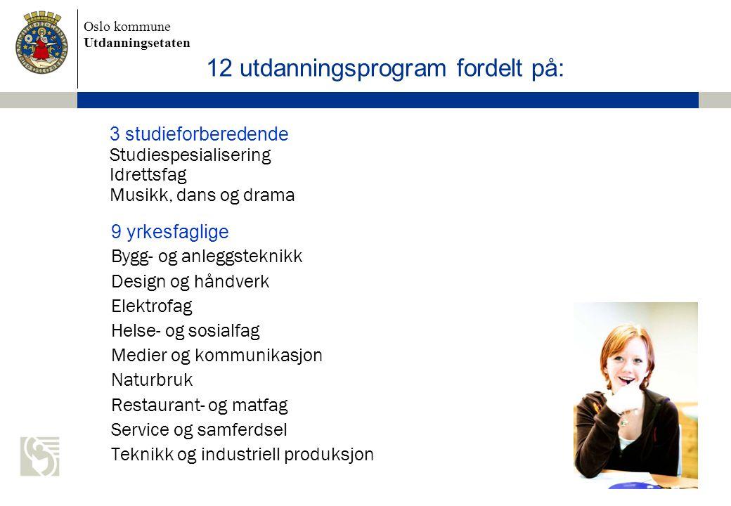 12 utdanningsprogram fordelt på: