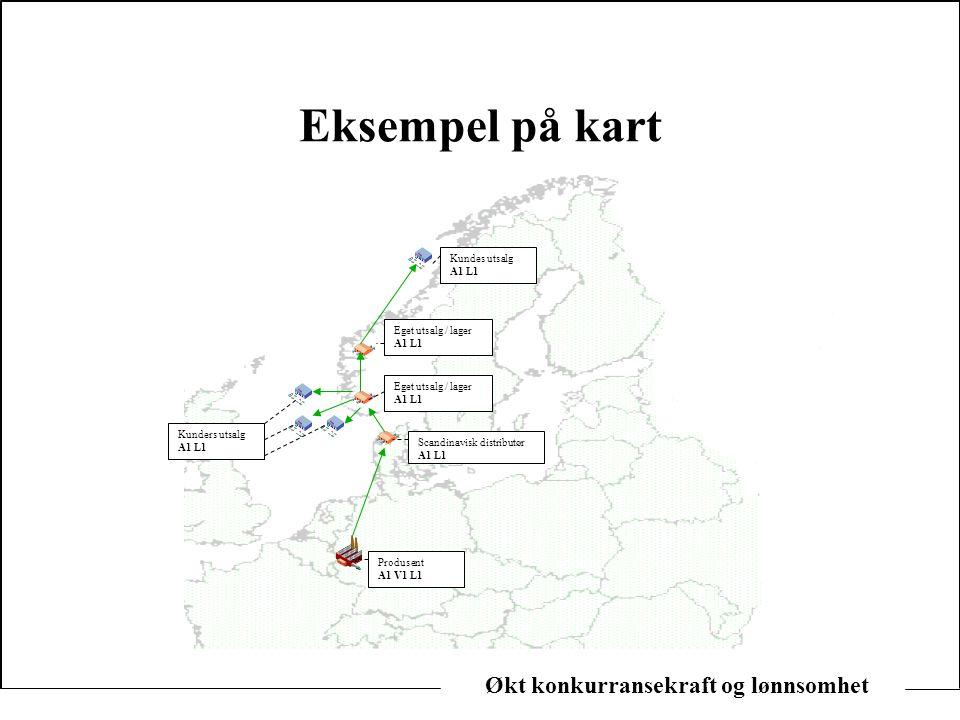 Eksempel på kart Kundes utsalg. A1 L1. Eget utsalg / lager. A1 L1. Eget utsalg / lager. A1 L1.