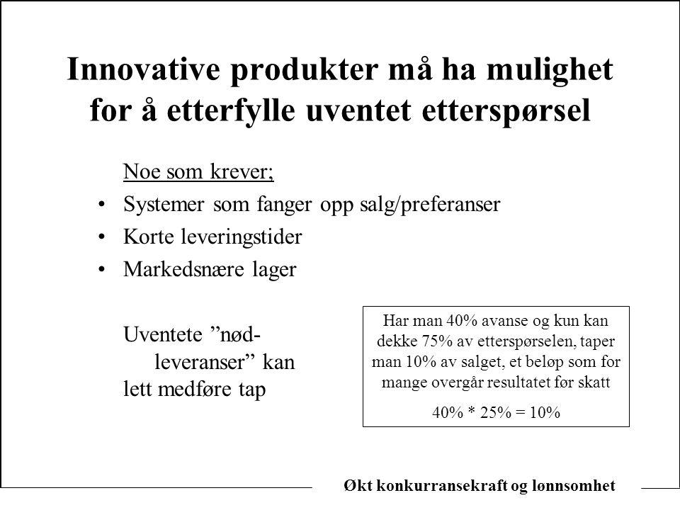 Innovative produkter må ha mulighet for å etterfylle uventet etterspørsel