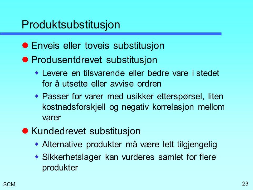 Produktsubstitusjon Enveis eller toveis substitusjon