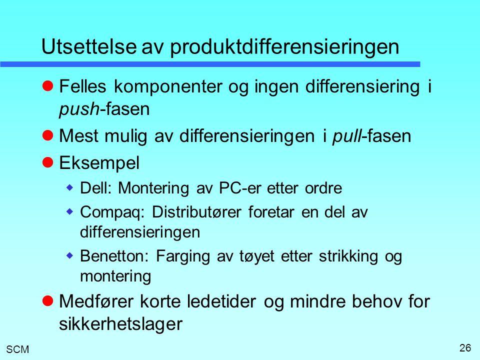 Utsettelse av produktdifferensieringen