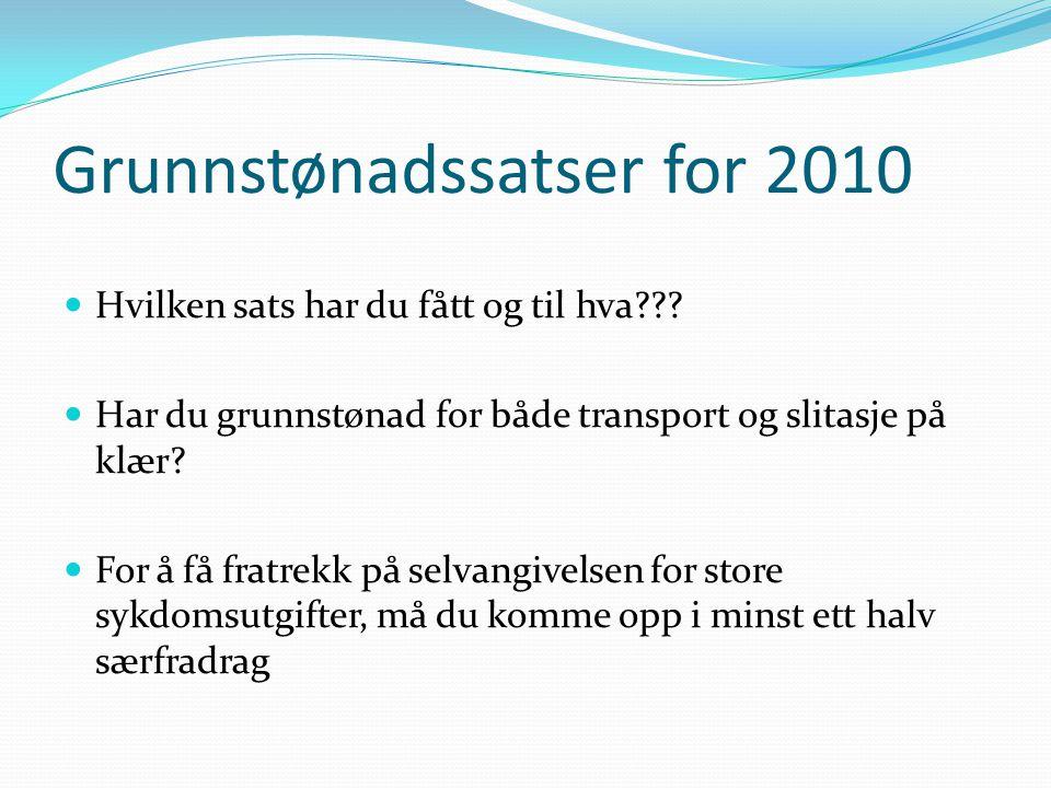 Grunnstønadssatser for 2010