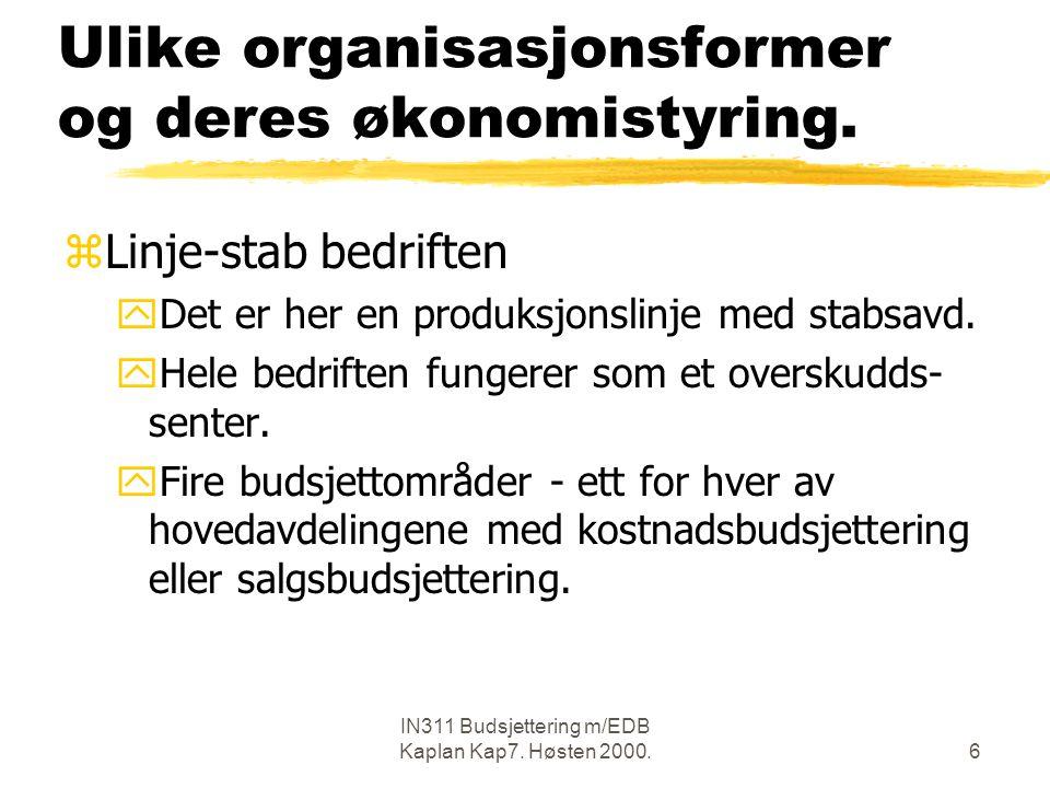 Ulike organisasjonsformer og deres økonomistyring.