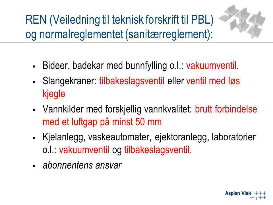 REN (Veiledning til teknisk forskrift til PBL) og normalreglementet (sanitærreglement):