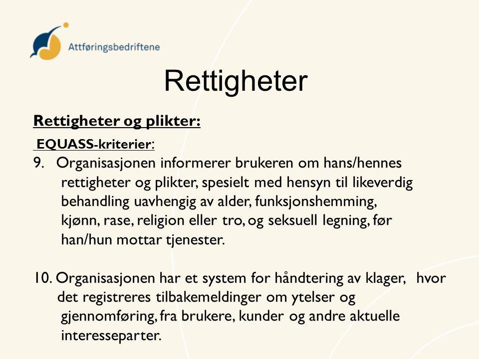 Rettigheter Rettigheter og plikter: