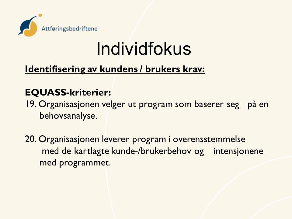 Individfokus Identifisering av kundens / brukers krav: