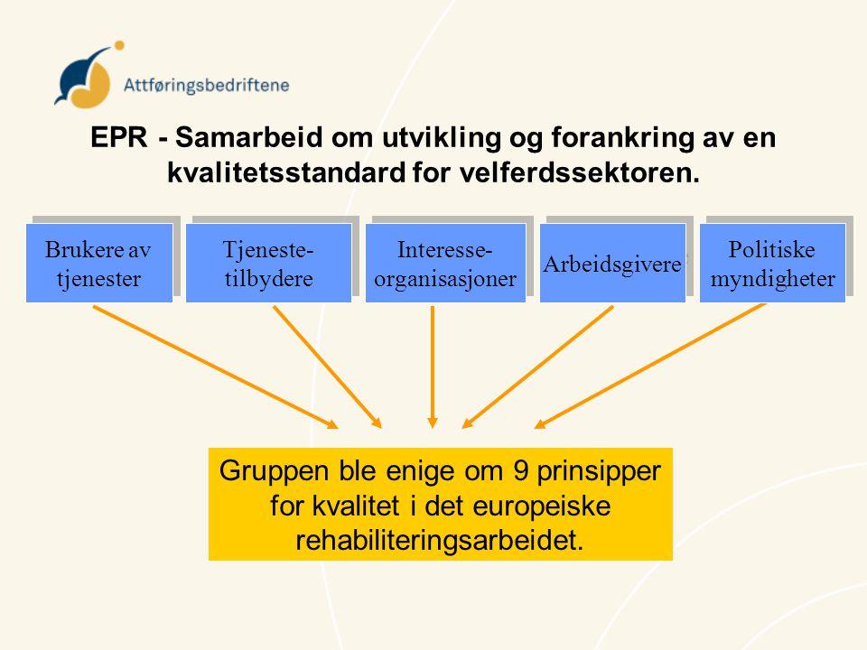EPR - Samarbeid om utvikling og forankring av en kvalitetsstandard for velferdssektoren.
