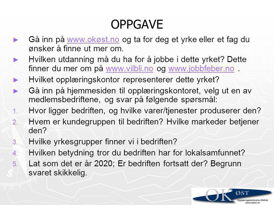 OPPGAVE Gå inn på www.okøst.no og ta for deg et yrke eller et fag du ønsker å finne ut mer om.