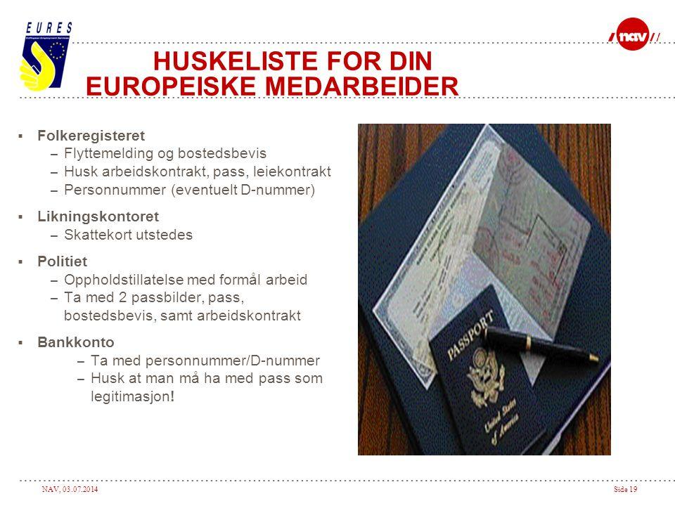 HUSKELISTE FOR DIN EUROPEISKE MEDARBEIDER