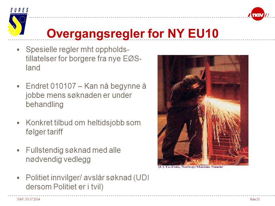 Overgangsregler for NY EU10