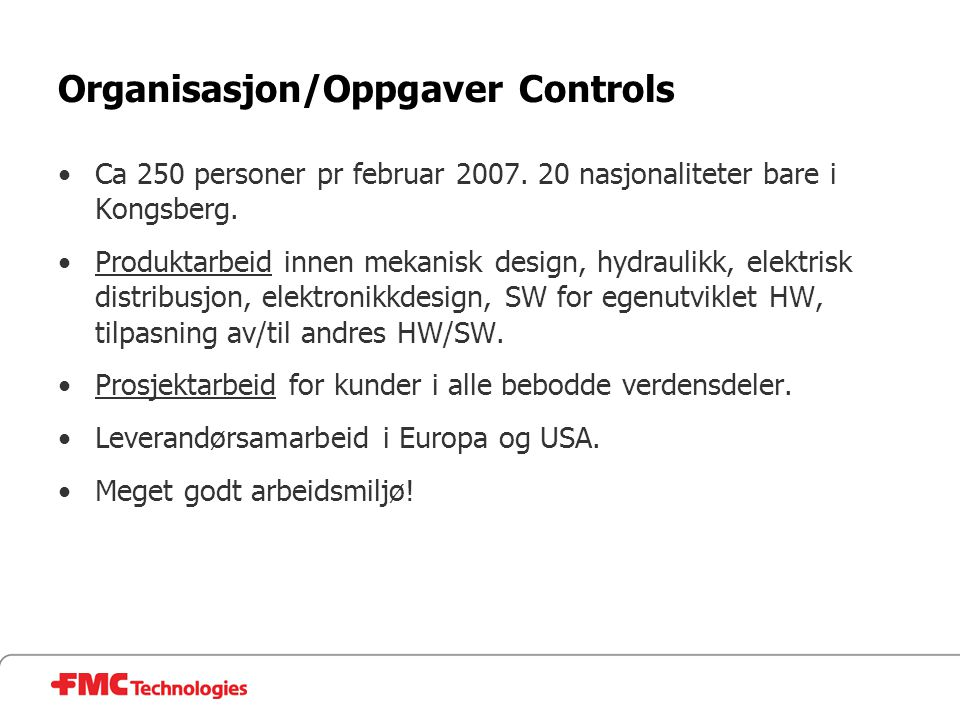 Organisasjon/Oppgaver Controls