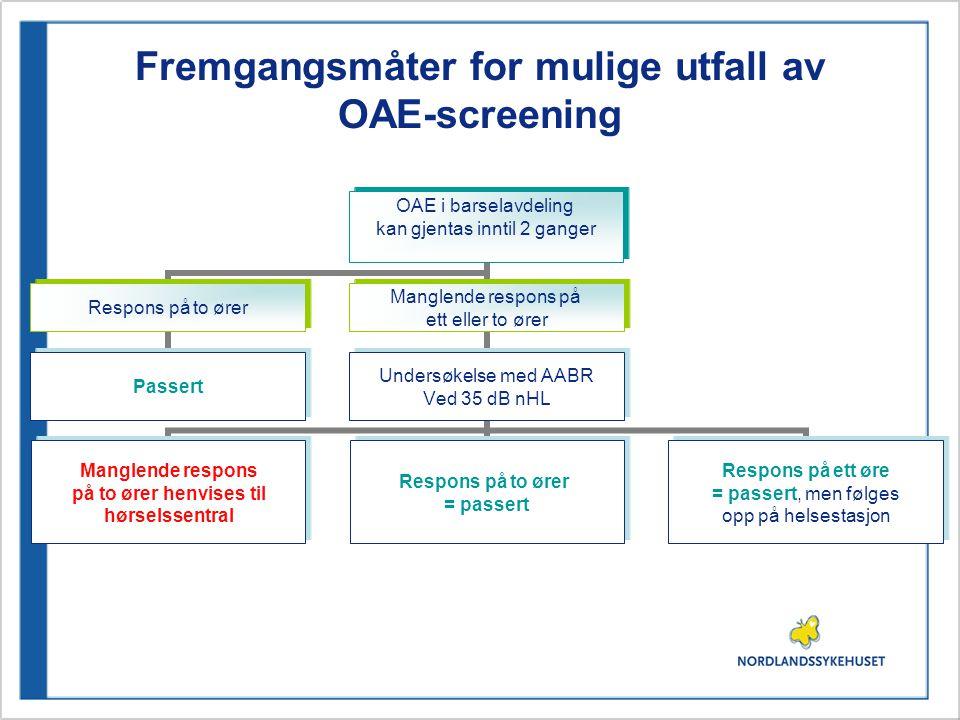Fremgangsmåter for mulige utfall av OAE-screening
