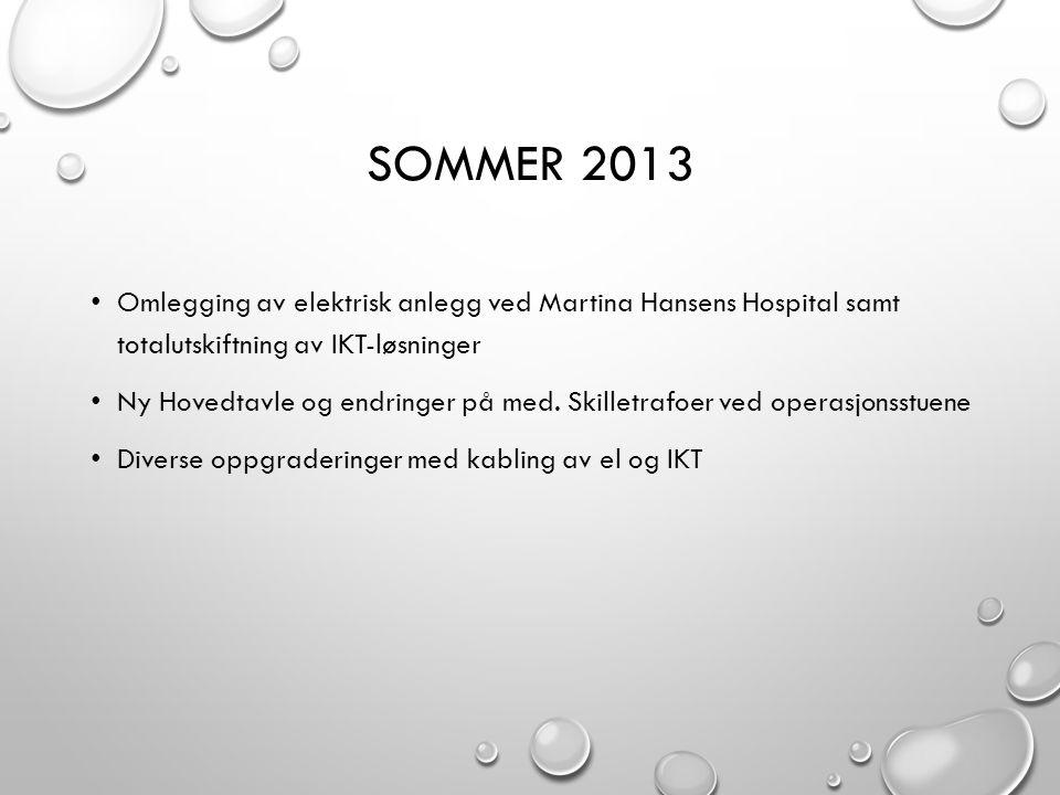 Sommer 2013 Omlegging av elektrisk anlegg ved Martina Hansens Hospital samt totalutskiftning av IKT-løsninger.