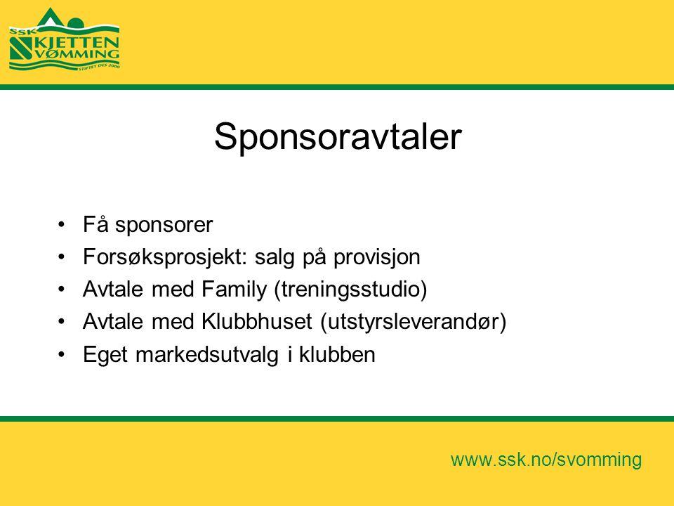 Sponsoravtaler Få sponsorer Forsøksprosjekt: salg på provisjon