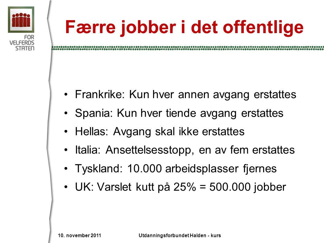 Færre jobber i det offentlige
